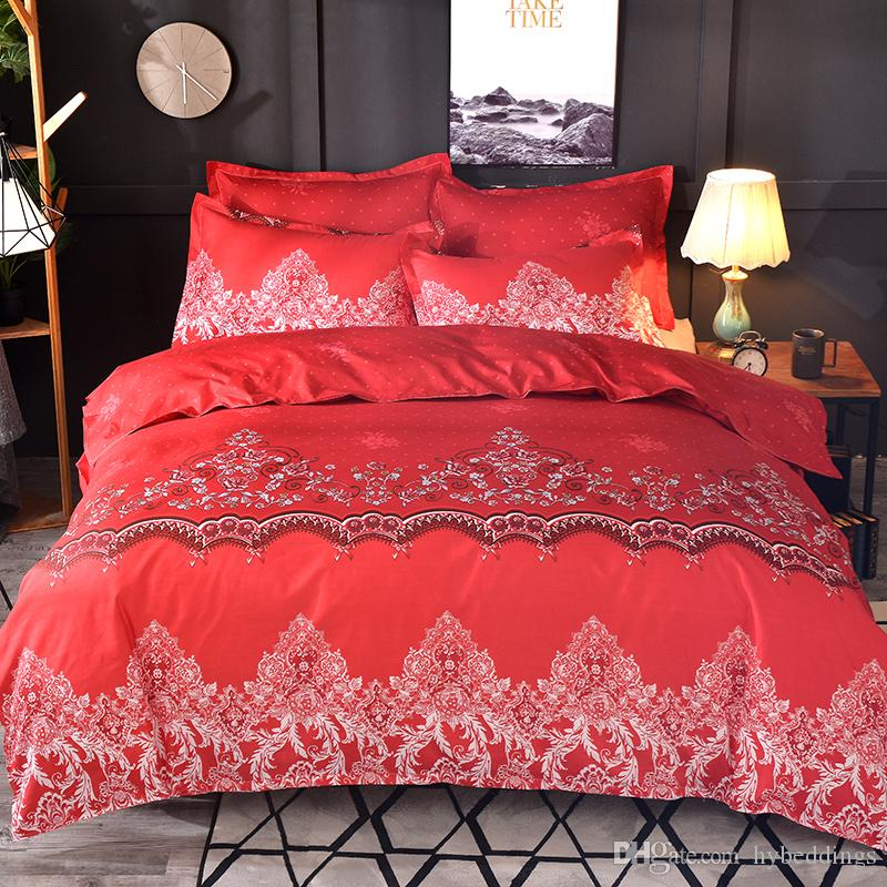 Red Bed Set Lace Floral Pattern Duvet Cover With Pillowcase Brief