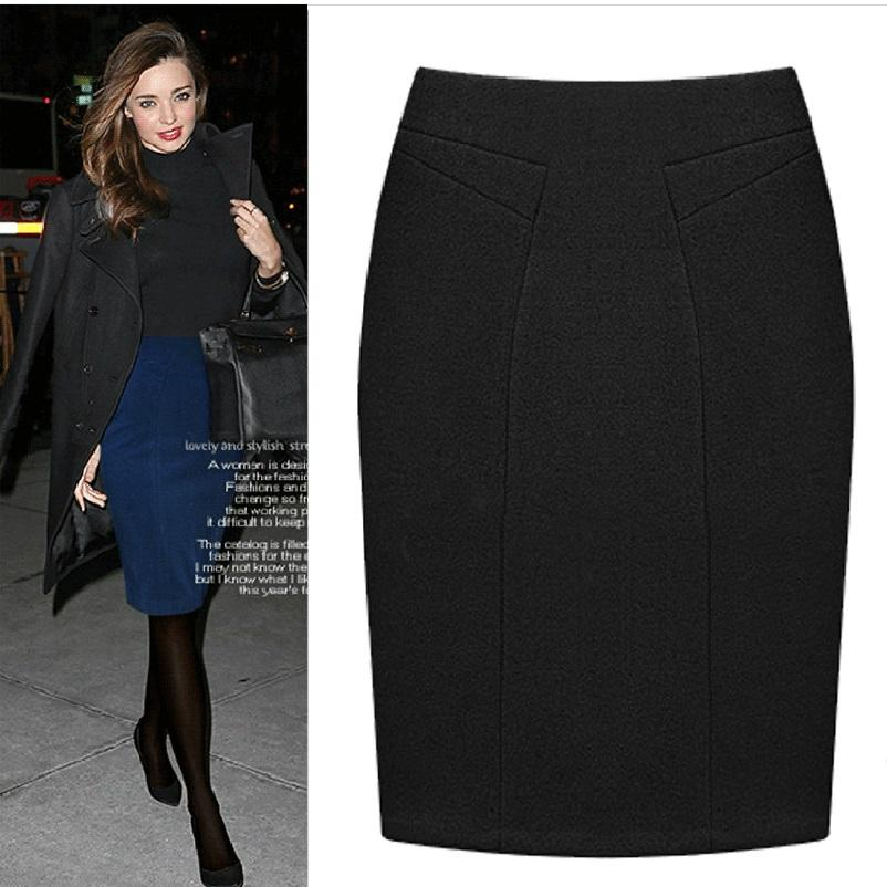 3db2038b5d 2019 Plus Size Female Knee Length Slim Midi Skirt 2017 Autumn And Winter Fashion  High Waist Woolen Women Casual Pencil Skirts From Harrvey, $23.49 | DHgate.