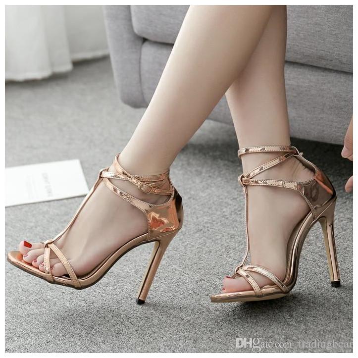 73256f52c21dc sexy Champagner Gold T Riemchen High Heels Sandalen Abschlussball Schuhe  Frauen Designer Schuhe Größe 35 bis 40