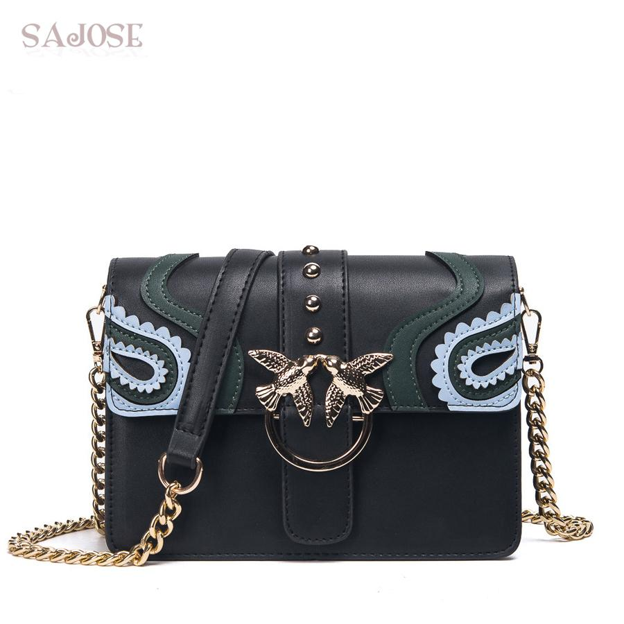 96108043e549 SAJOSE 2018 Female Brand Hand Bag Woman Messenger Bags Lady Rivet Chain Women  Fashion Leather Shoulder Bag Girl Crossbody Bags Handbags For Women Mens ...