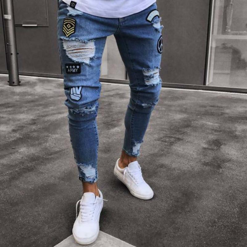f8d395b911 Compre S 3XL Jeans Para Hombres Tendencia Moda Rodilleras Pantalones  Pantalones Personalizados Joker Denim Moda Pantalones Ocasionales De Mediana  Altura A ...