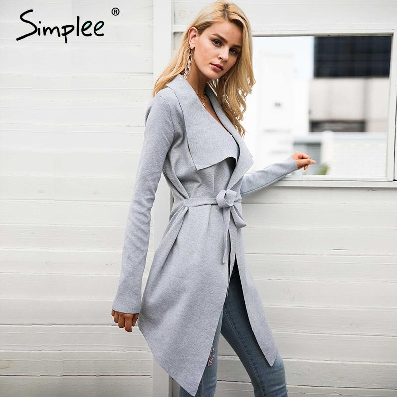 1d14a516a Compre Simplee Sash Cardigan Elástico Camisola De Inverno Mulheres Jumper  Cardigan De Malha Casaco Feminino Macio Casual Pull Pull Outwear C18110801  De ...