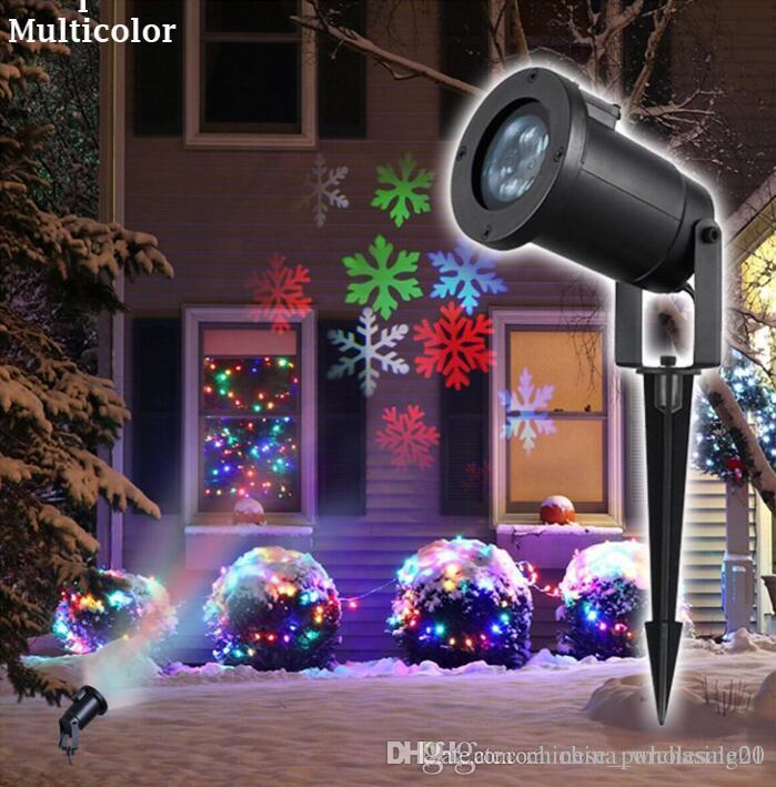 2018 holiday lighting christmas snowflake projector outdoor led lawn light waterproof for garden decor white rgb with power plug from chinese purchasing01
