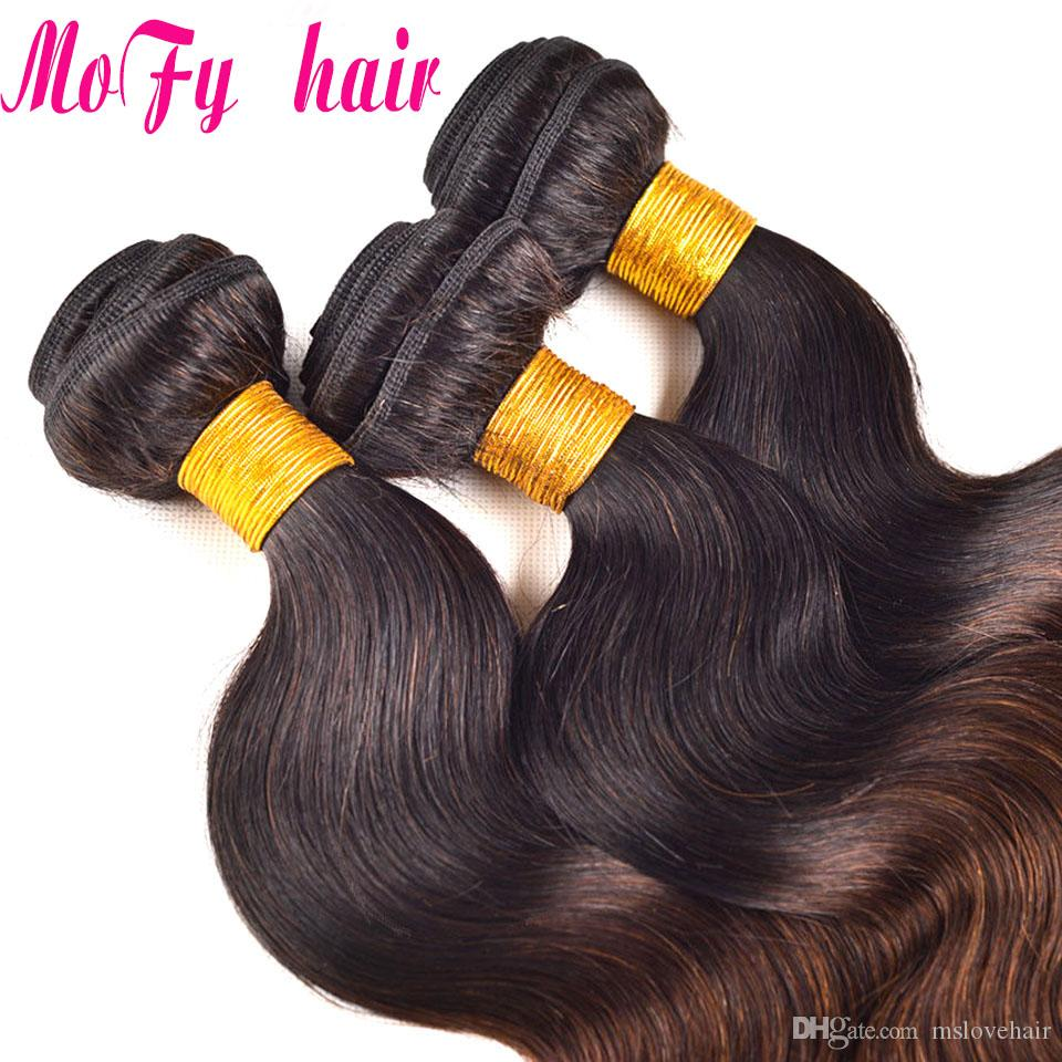 Ombre Body Wave hair three tone 1b/4/27 10-24 inch Non-Remy 100% Human Hair weave bundles Cheap Price Wholesale