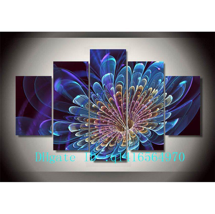 Home Décor 3d Blue Lotus Flower Painting 5 Pieces Canvas Print Wall