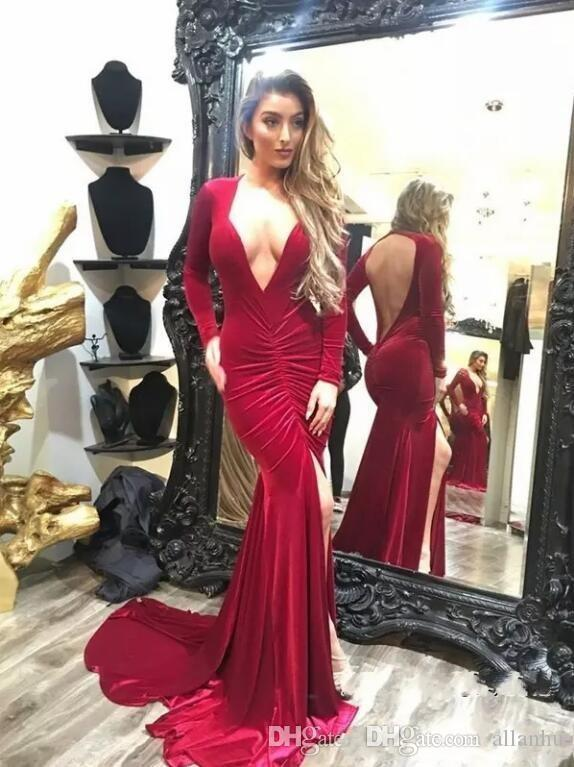 Red 2018 New Design Cheap Simple Mermaid Prom Dresses Sexy Deep V Neck Side Split Long Evening Wear Formal Party Gowns Vestidos De Feista