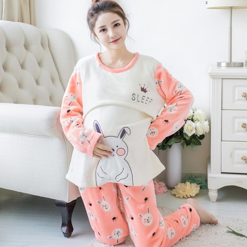 3802ecdde0e35 2019 Maternity Breastfeeding Nursing Nightgowns Keep Warm Flannel Long  Sleeve Pregnant Women Pajamas Month Clothing L From Ferdimand, $42.41 |  DHgate.Com