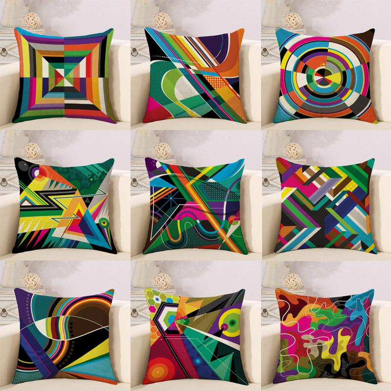 New Abstract geometry color line modern sofa cushion sleeve breathable  cotton-linen pillow Decorative Throw Pillows cushion covers