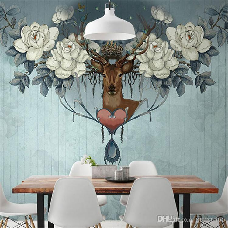 Vintage American Style Flower Deer 3d Murals Wallpaper For Sofa Backgroud Custom 3D Wall Photo Murals Removable