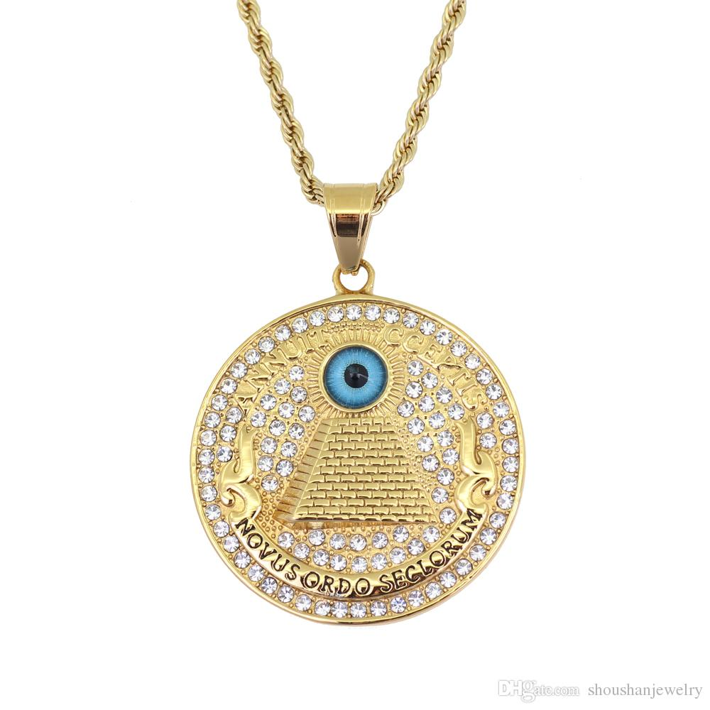 Stainless Steel Jewelry hip hop Eye of Providence Pendant Necklace with 3mm 24inch Rope Chain SN116