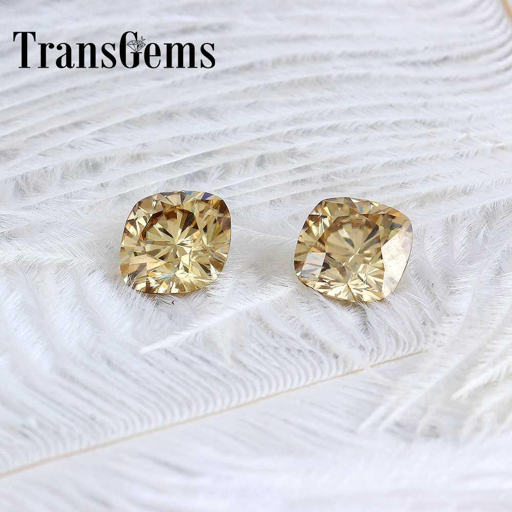 TransGems 8mm*8mm 2.5Carat Color Certified Man made Diamond Loose Moissanite Bead Test Positive As Real Diamond 1 piece