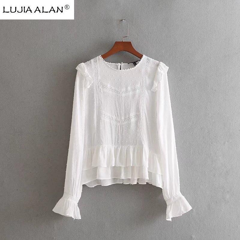 4332b0ce5571bb 2019 Women Lace Splicing Ruffled Hem White Shirt Long Sleeve Blouse O Neck  Smock Lady Tops Summer Femininas Blusa LUJIA ALAN LS317 From Moussy, ...