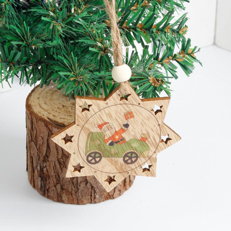 Рождественские деревянные подвески Санта ClausSnowman украшения DIY рождественские украшения Xmas Tree украшения детские подарки