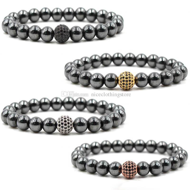 Klassische männliche Armband Inlay Zirkon elastische CZ Kugel Perle Charme mit glatten schwarzen Perlen Hand Kette Charme Armbänder Männer Schmuck