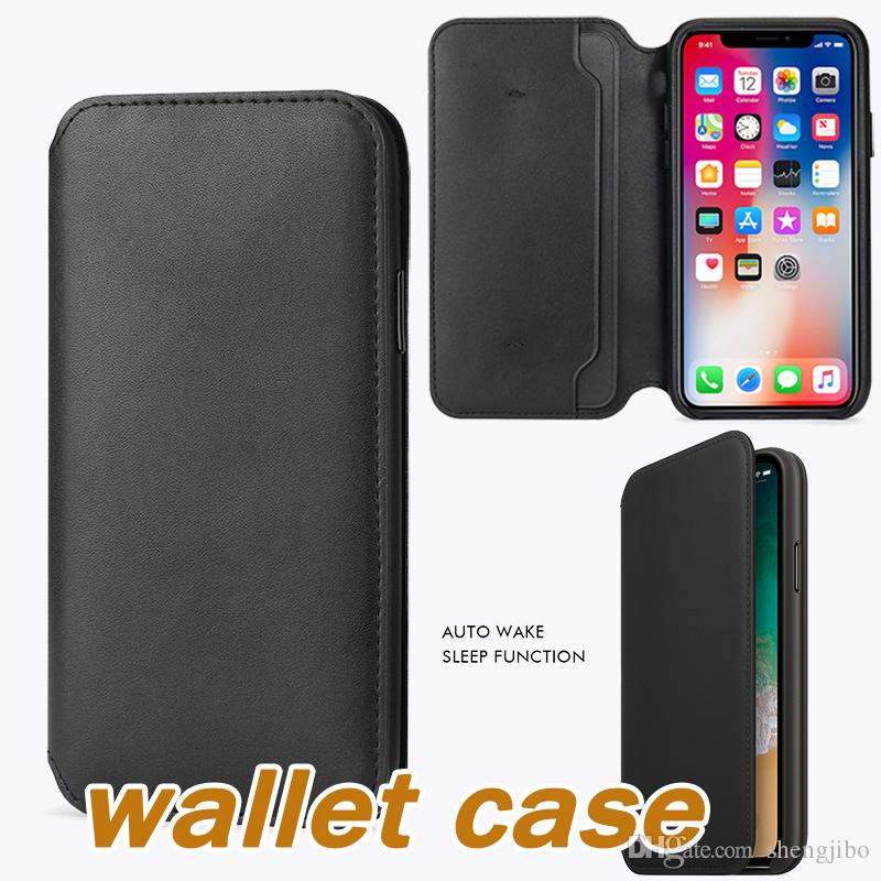 competitive price bff72 79fc7 Original Leather Folio Case for iPhone X Official Smart Flip Wallet Cover  With Card Slot for iPhone 5 5S 6 6S 7 8 Plus