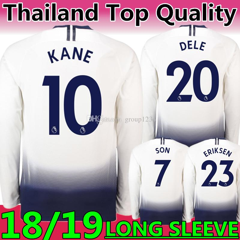Compre Qualidade Tailandesa Novo 2019 Tottenhames Clube   10 KANE Casa  Branca Manga Longa Camisa De Futebol 18 19 TOT Clube ERIKSEN DELE FILHO  Uniformes De ... 157cb9b662311