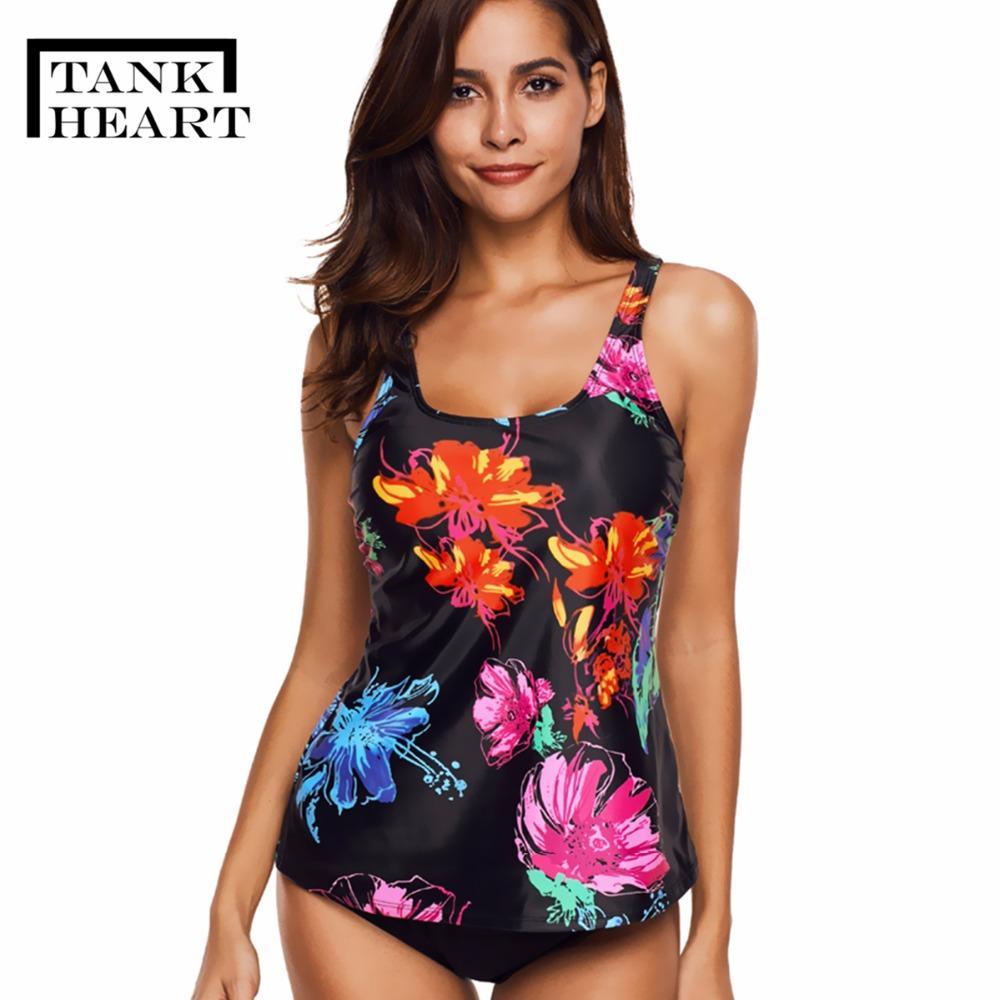 3f0116d1d7 2019 Wholesale Floral Plus Size Swimwear Women Push Up Bikini Set Tankini  Set Two Piece Swimsuit For Girl Badpak Bathing Suit L 5XL From Clothesg220