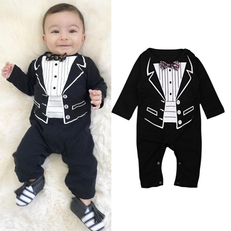 27fe80eec 2019 Handsome Baby Boys Romper 2018 Newborn 4 24M Gentleman Clothing ...