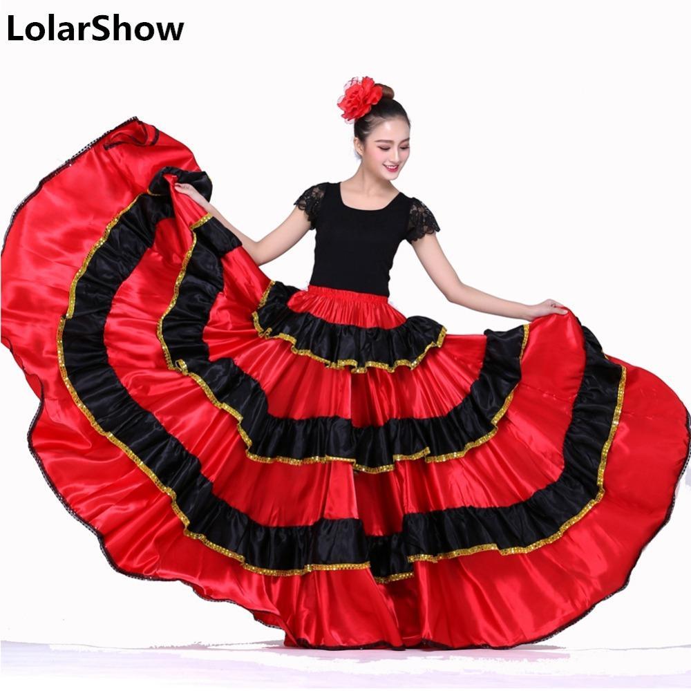 60ad8e143 Disfraces de Danza Española para Mujer Falda de Baile Flamenco Falda de  Danza del Vientre Ropa Española Vestido de Flamenco Top y Falda