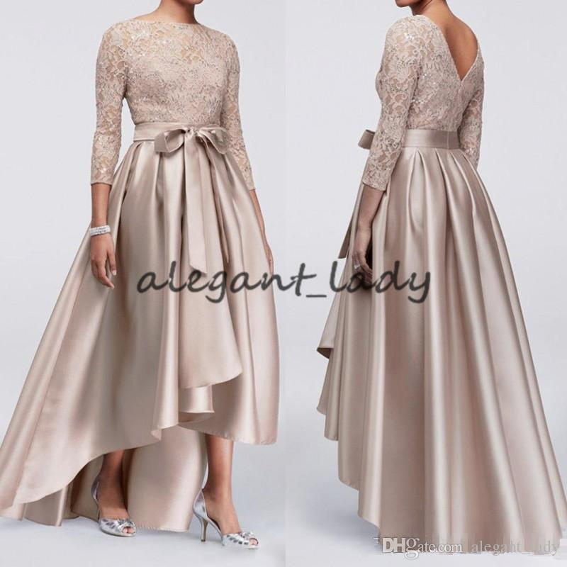 5dc86076047 Elegant 3 4 Sleeve Mother Of The Bride Dresses Lace Appliques High Low Long  Satin Mothers Outfit Plus Size Formal Evening Gowns Bridal Mother Dresses  Plus ...