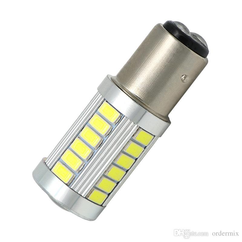 2 قطع p21 / 5 واط أدى ضوء السيارة BAY15D led لمبة 1157 الذيل إشارة الفرامل وقف عكس drl ضوء 5 واط 12 فولت 3014 33 led smd الأصفر الأحمر