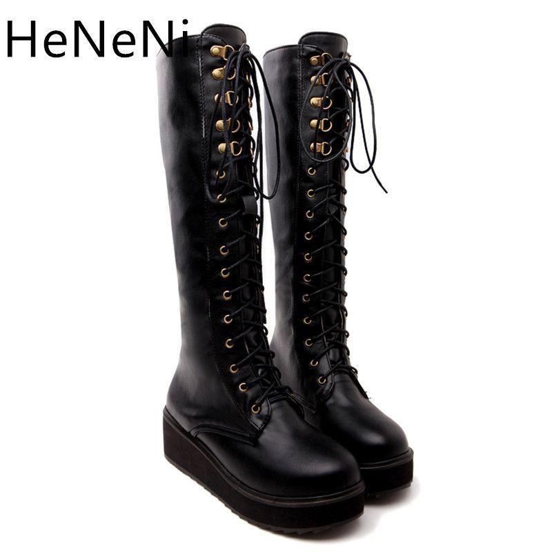 e7e37c2a4ff Women s Lace Up Knee-length Boots Lightweight EVA materialThick Bottom High  Heel Platform Combat Boots Deep khaki and black Plus
