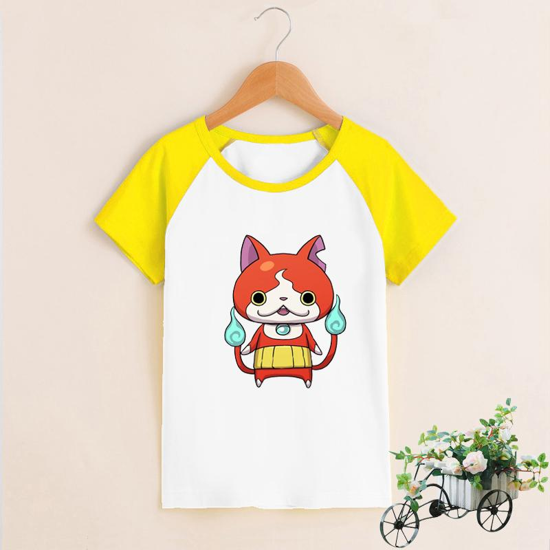 3DS Youkai Watch 2/Yo kai Watch Jibanyan косплей мультфильм с коротким рукавом О-образным вырезом футболка для детей