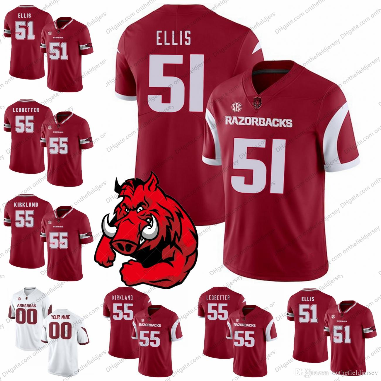wholesale dealer adc36 d8c8c Arkansas Razorbacks 2018 NEW STYLE NCAA Football Jerseys #51 Brooks Ellis  55 Denver Kirkland 55 Jeremiah Ledbetter S-3XL