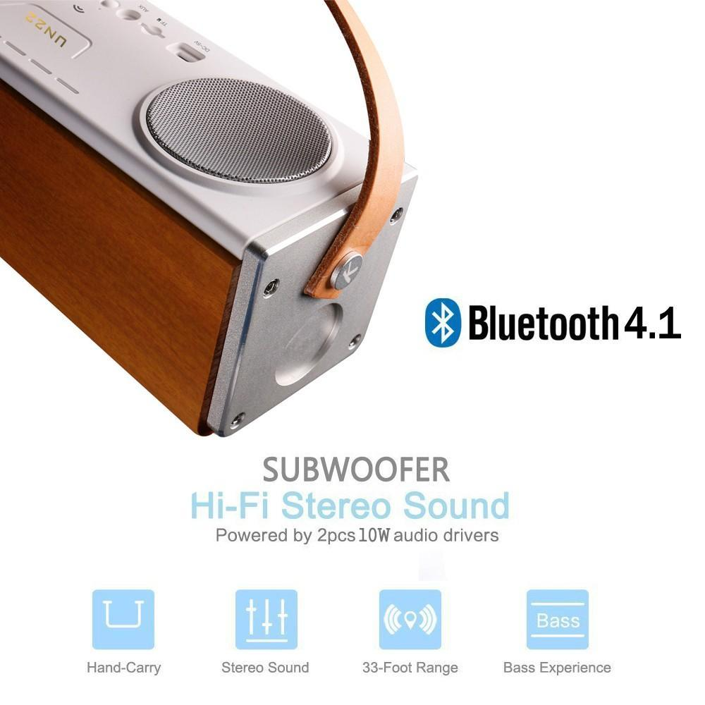 Smart Electronics Wireless Speakers Bluetooth 4.1+EDR 3600mAh battery Wooden case Heavy Bass Portable with Leather handle 20W Subwoofer