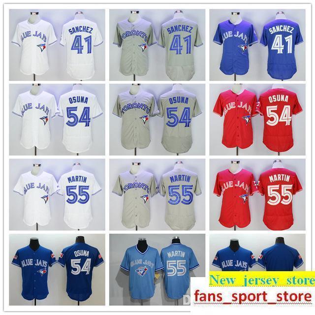 timeless design eca6d 9ec1b 2019 Men s To Blue Jays 41 Aaron Sanchez 54 Roberto Osuna 55 Russell Martin  baseball Jerseys color white blue gray red top quality