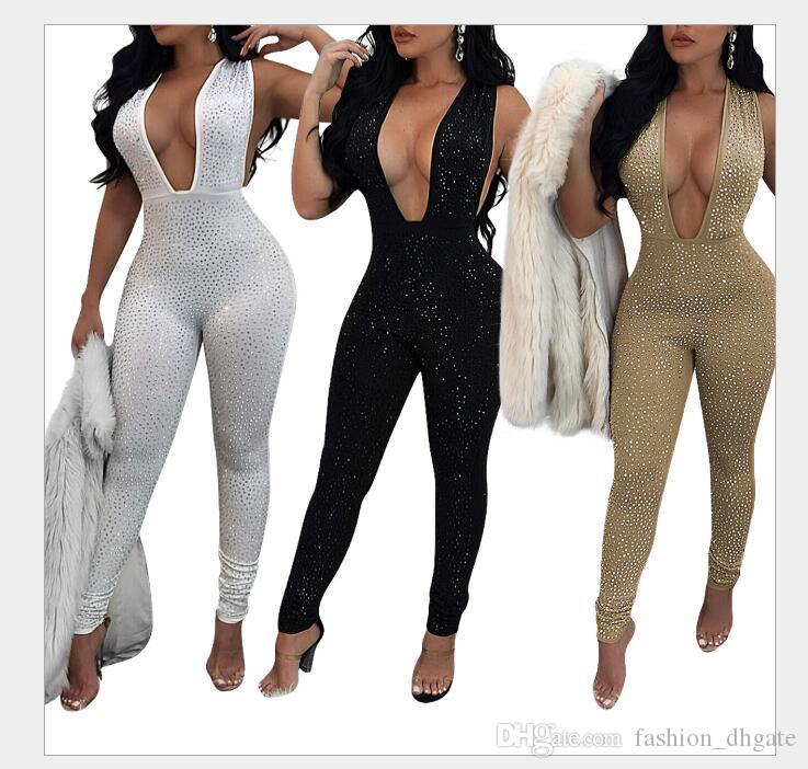 34dcb40d00c 2018 New Fashion Jumpsuits Rhinestone Design Women Set Sexy Bodycon Deep V- neck Costume Solid Elegant Sleeveless Party Rompers Women s Jumpsuits Girl  ...