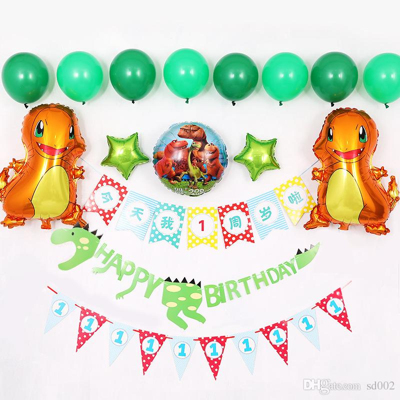 2019 Dinosaur Balloon Banner Flags Cute Happy Birthday Decoration Boy Children Baby Shower Background Wall Decor Party Supplies 36ml Bb From Sd002
