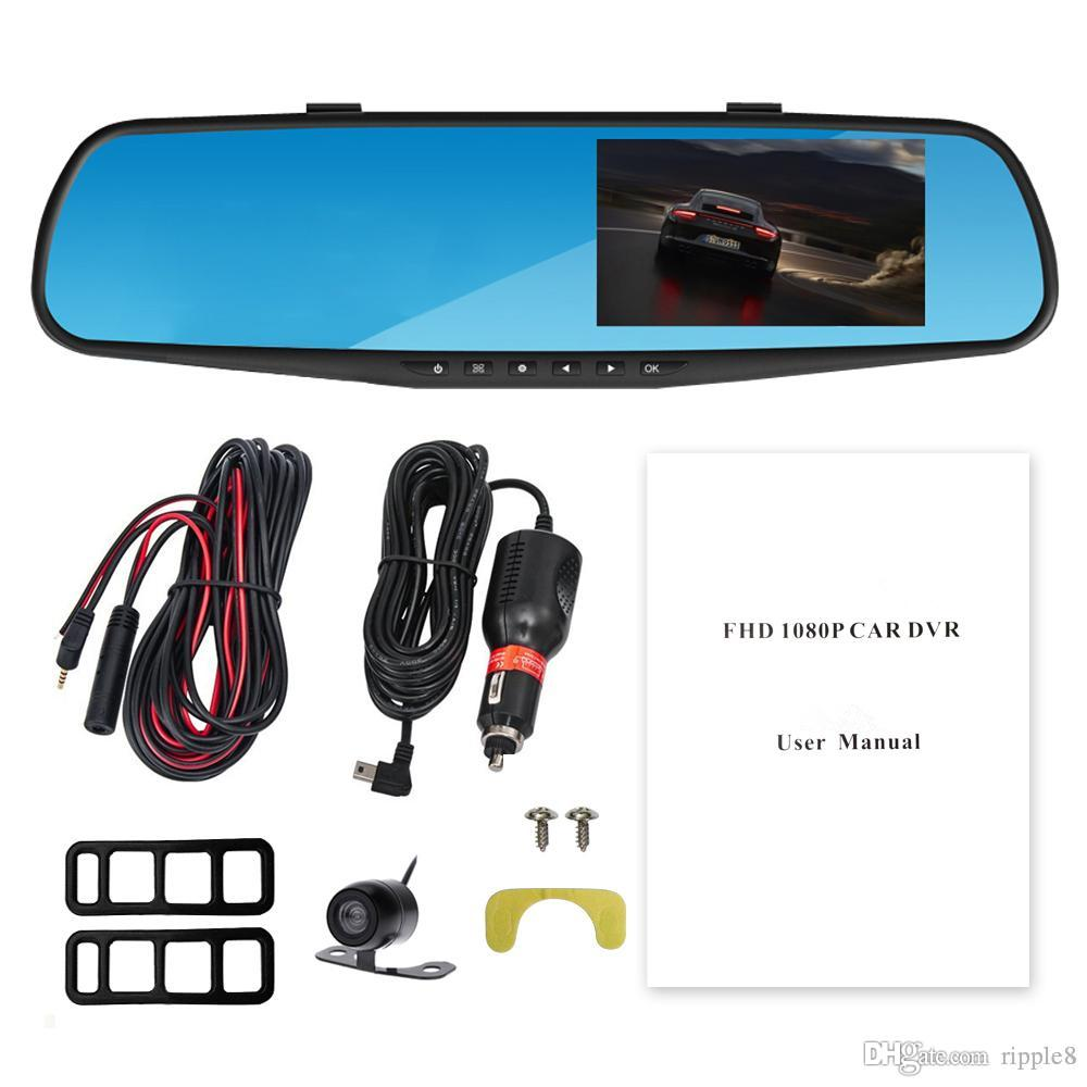 4.3 Inch Blue Mirror Anti-Glare Ultra HD Display Dual Lens Rearview Mirror Car DVR Parking Monitoring Motion Detection One Key Lock