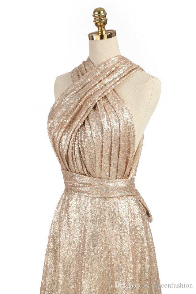 Brillante convertible lentejuelas de oro vestidos de honor Una línea de limpieza largo de honor de los vestidos del partido vestidos de boda de múltiples vías