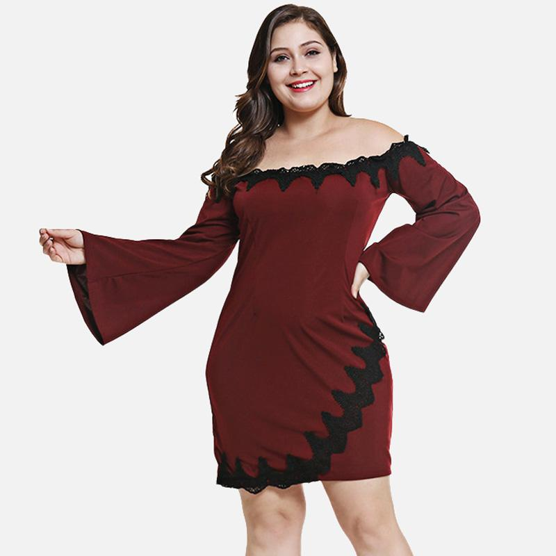 a02b6383239 2019 Wipalo 5XL Plus Size Off The Shoulder Bell Sleeve Spliced Lace ...
