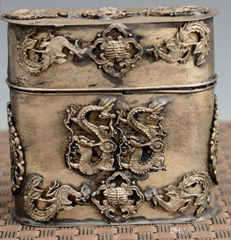 Antiques Chinese Silver Copper Hand Carved Dragon Toothpick Box Asian Antiques