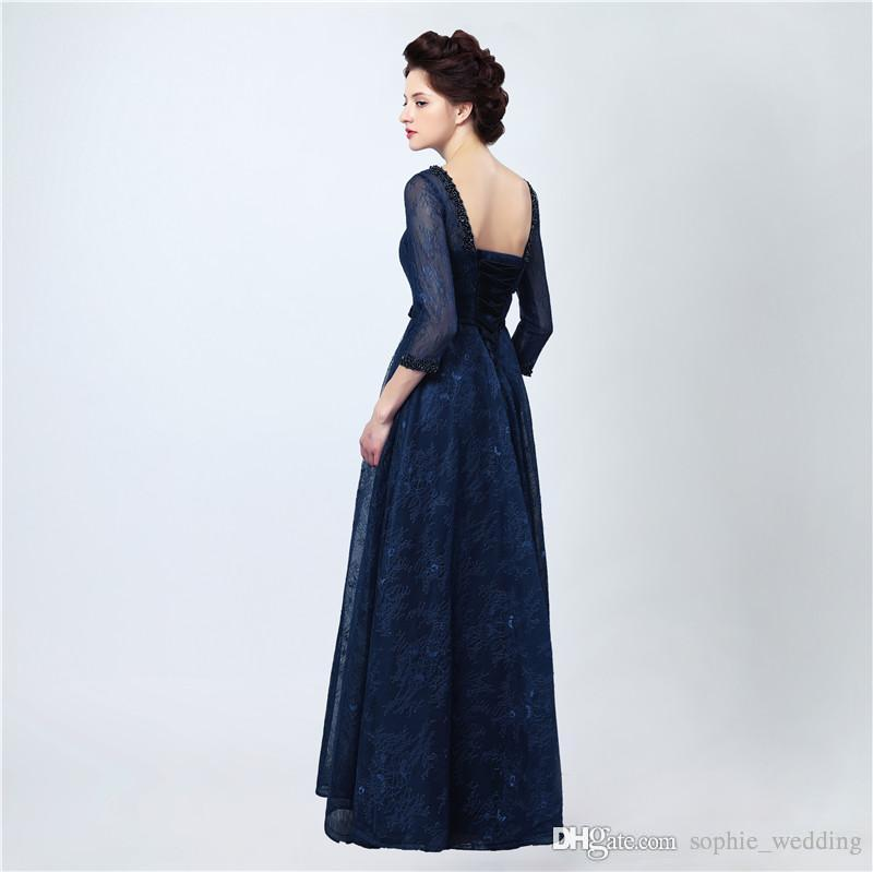 Sexy Long Evening Dress Vestidos Longos Para Formatura 2018 Dark Blue Elegant Lace Prom Dresses with Sleeves