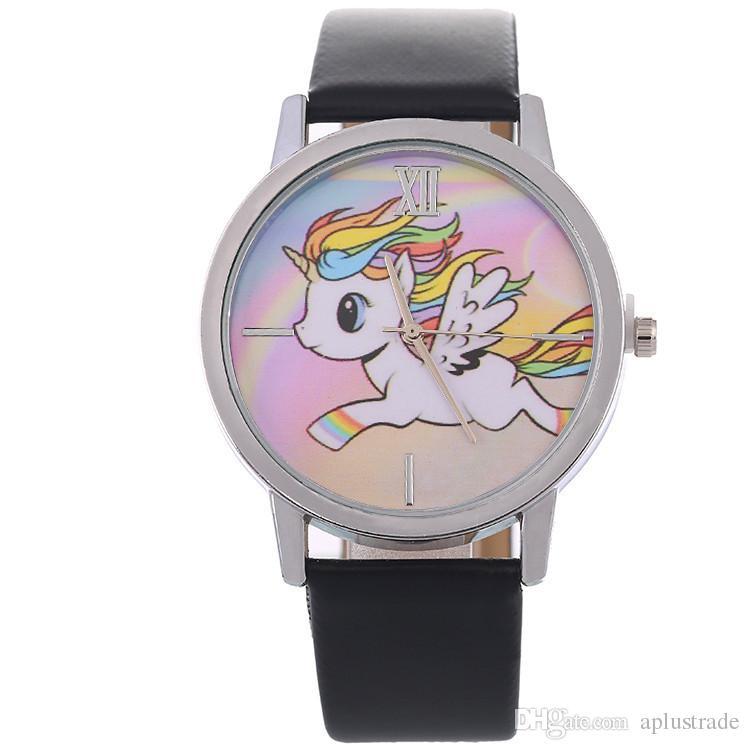 9 Stil Güzel Karikatür Unicorn İzle Kadınlar Deri Kayış Basit Casual Saatler Bayanlar Kuvars Bilek Saatler Erkek Kız Çocuklar için Xmas hediye