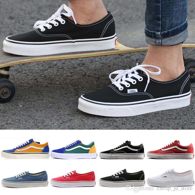 c2caf239 VANS Old Skool Authentic Canvas Skate casual Shoes triple black white Blue  Green Yellow Red Mens Women Designer Running Sports Sneakers