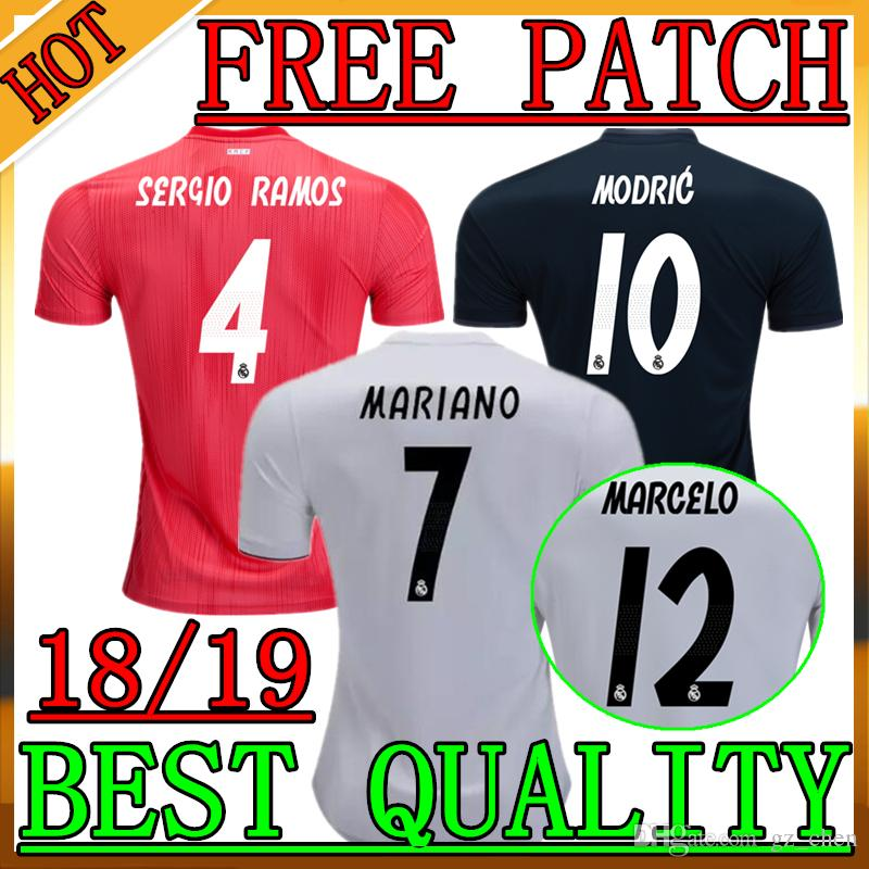 brand new 91568 d6c01 2018/19 New Real Madrid Soccer Jersey 1819 MARIANO Real Madrid Jersey 1819  SERGIO RAMOS MARCELO KROOS ASENSIO MODRIC ISCO Football Shirts