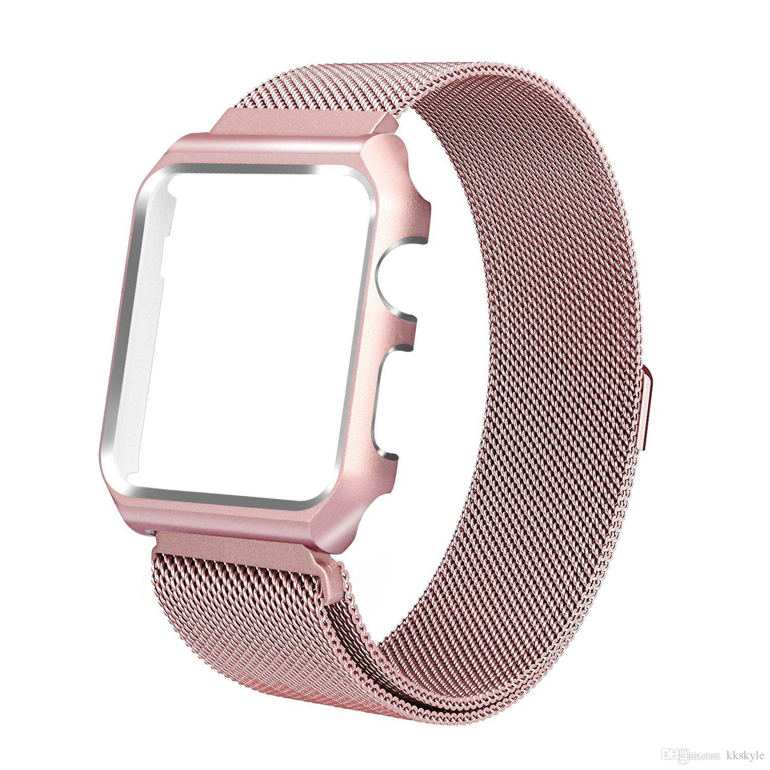For New 2019 Apple Watch Band 38mm 40mm 42mm 44mm,Milanese Loop Stainless Steel Magnetic Band with Case for Apple Watch Series 4 3 Series 5