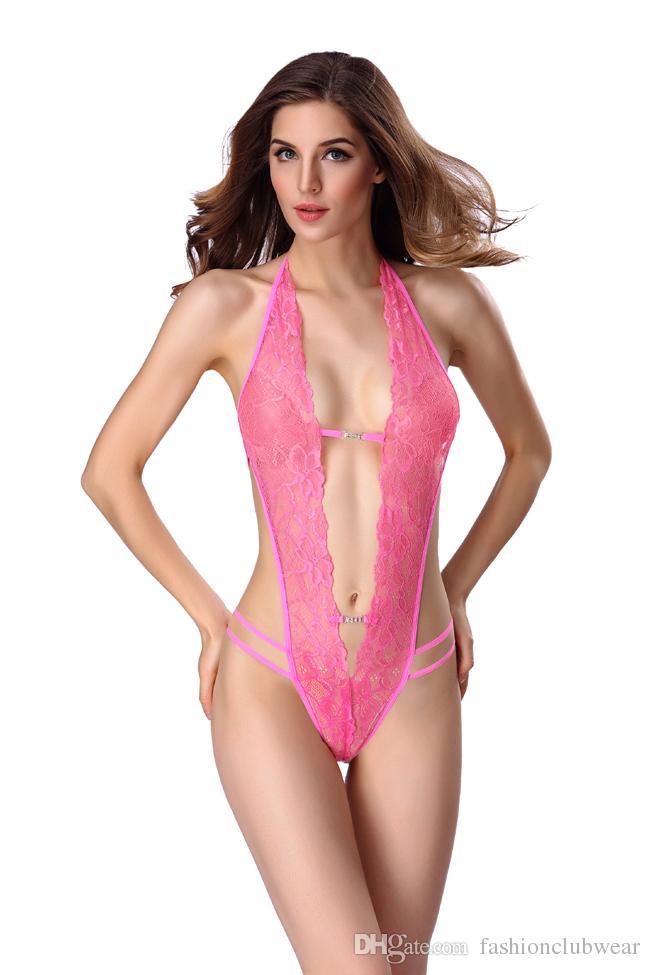 cc06e35797eaf1 2019 Sexy Lace Lingerie Teddies Women High Cut Backless Nightwear Underwear  Sexy Onesies G String Erotic Night Party Pajamas Intimate From  Fashionclubwear, ...