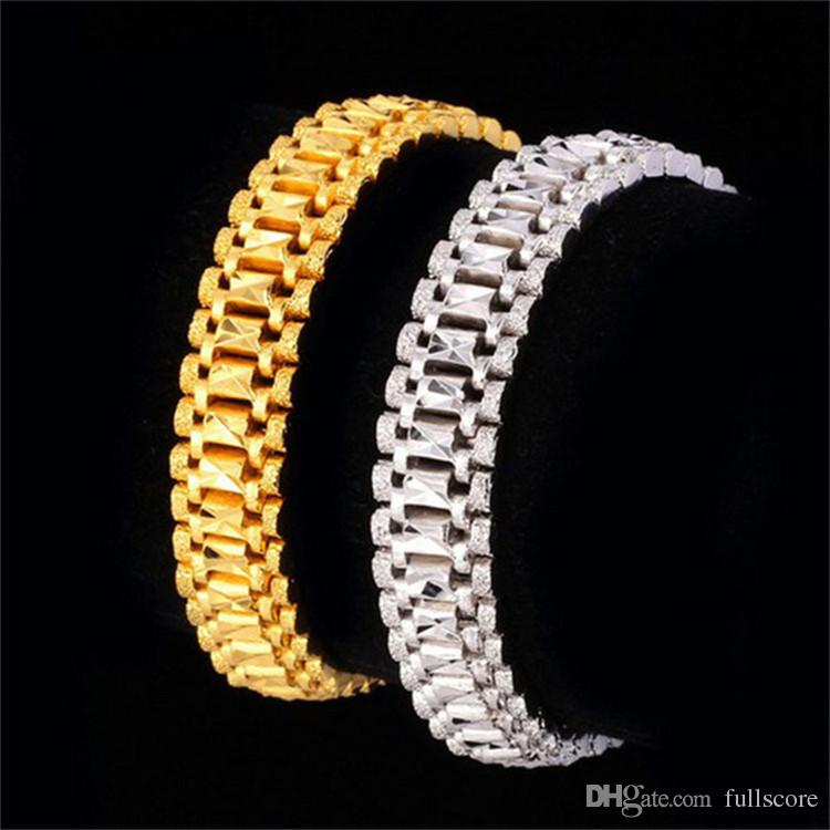 20ss Yellow Gold Color Bangles Sliver Color Bracelets Valentine's Day Gift Vintage Big Heart Men Jewelry Wholesale 2018