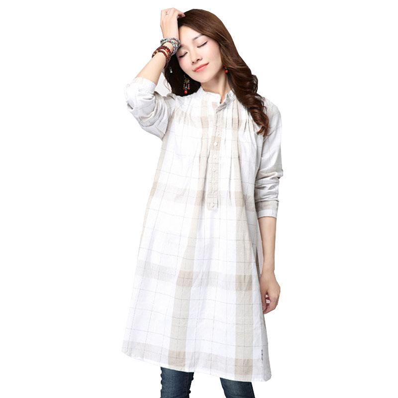 a6c524cc36a 2019 Plus Size Cotton Maternity Blouses Loose Top Plaid Clothes For  Pregnant Women Wear Pregnancy Clothing Linen Long Sleeve Shirt From  Namenew