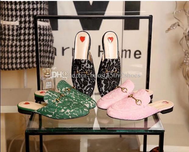 Designer de luxo Mulheres Verão Chinelo Princetown Chinelos Mulas Mocassins Apartamentos Flats De Couro Genuíno Com Fivela Abelha Padrão Com Caixa