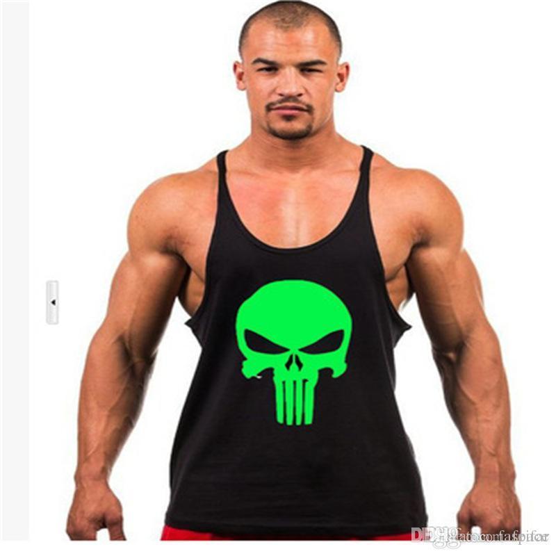 4189e251c821c Acheter Gros Hommes Le Punisher Bodybuilding Stringer Débardeur Hommes  Singlet Fitness Sans Manches Workout Gilet Coton Y BACK Racer De  24.74 Du  Feifar ...