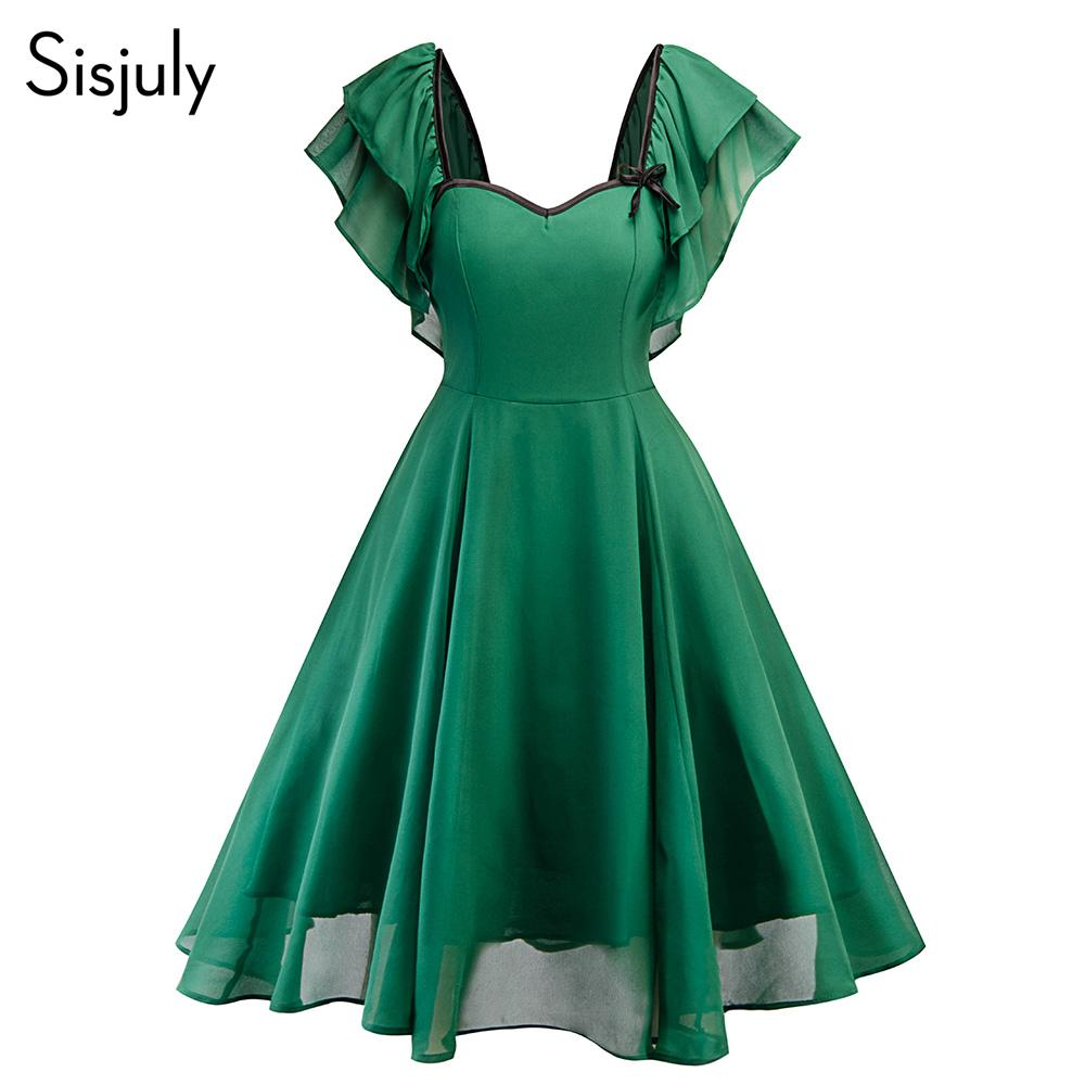 49571faf03baa Sisjuly Women Summer Dress Solid Ruffle Sleeve Elegant A Line Retro Shot  Party Dresses Fashion 2018 Vintage Dress For Girl