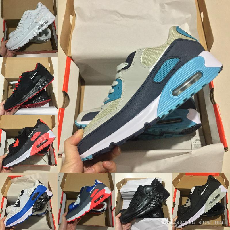 competitive price ddc49 b7dbb Acquista Nike Air Max 90 Shoes New Airmax 90 Vendita Calda Air Cushion  Air90 Casual Scarpe Da Corsa Uomo Donna Alta Qualità Maxes Nuovo Nero  Bianco Blu ...