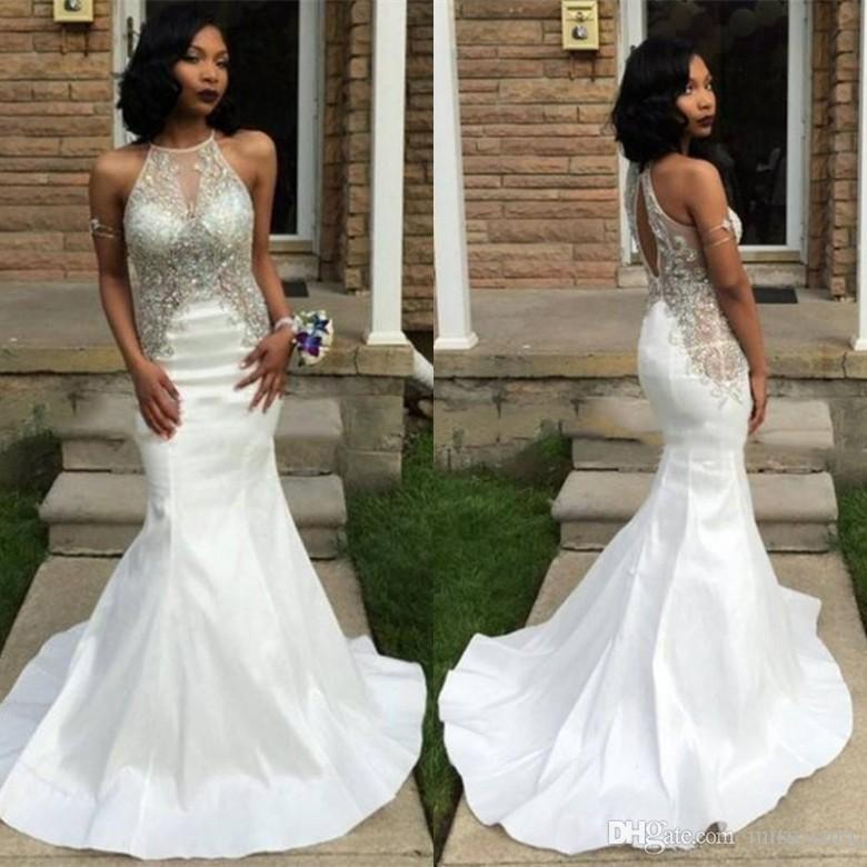 Sexy Sheer Neck Prom Dresses Mermaid Backless White Satin Backless Crystal Beaded Party Dress Keyhole Back Occasion Evening Gowns