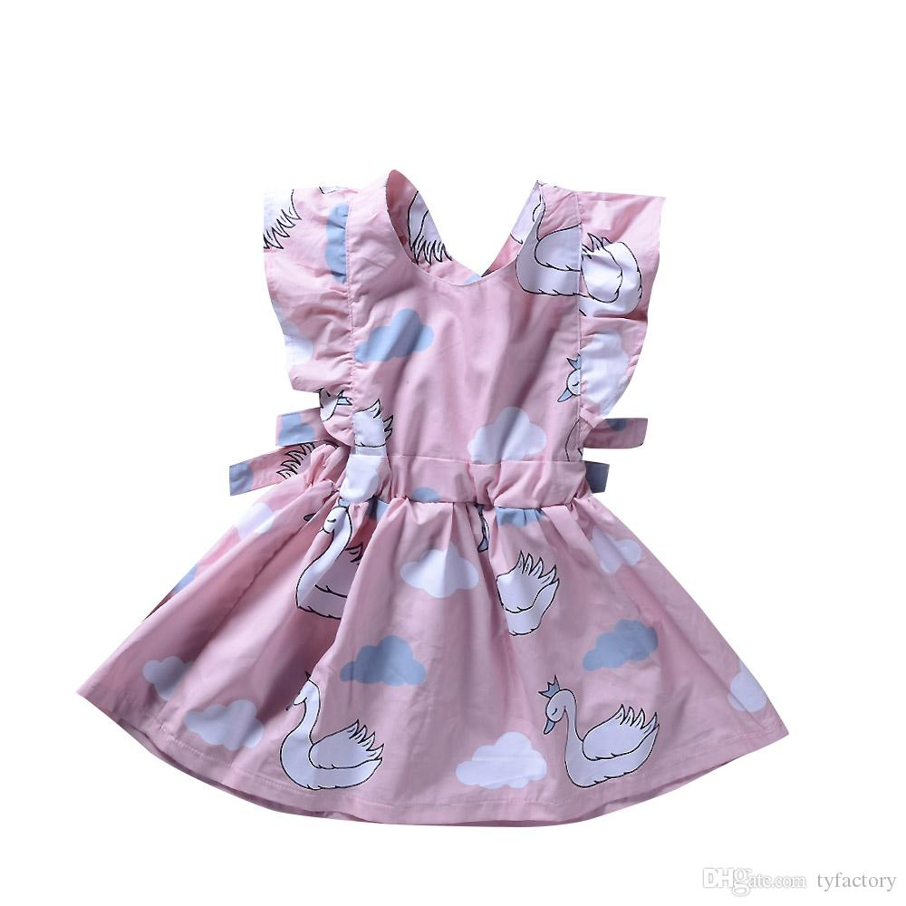 292877c5256a 2019 2018 Pink Swan Baby Girls Dress Sleeveless Ruffled Vest ...